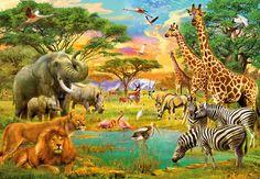 Fotomural African Animals 154, dibujo de animales salvajes como la jirafa, el elefante, león, cebra... todos ellos como si de animales reales se tratase.