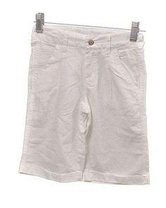 3 Pommes Girls Linen Basic Bermuda Childrens Pants White Size 10Y
