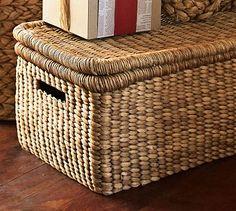 """Beachcomber Lidded Basket  Medium: 24"""" wide x 14"""" deep x 11"""" high PERFECT! #potterybarn"""