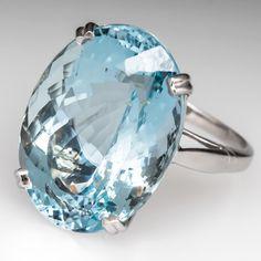 Estate Jewelry 19 Carat Oval Aquamarine Cocktail Ring 14K White Gold