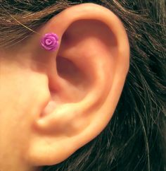 No Piercing Tiny Rose Magnetic Cartilage by ArianrhodWolfchild