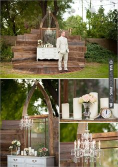 wedding alter | VIA #WEDDINGPINS.NET. Franny, you know the large church window that I have and the antique dresser.