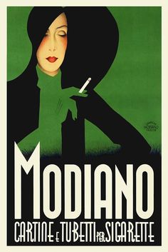 #Vintage art deco modiano #italian cigarettes #poster 1930s retro smoking glamour,  View more on the LINK: 	http://www.zeppy.io/product/gb/2/251858947155/