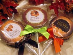 Personalized AUTUMN FALL wedding cookie pops to include on sweet table or for shower...
