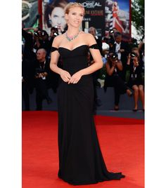 ScarJo - Versace black chiffon gown with embellished off-the-shoulder straps; Bulgari necklace.
