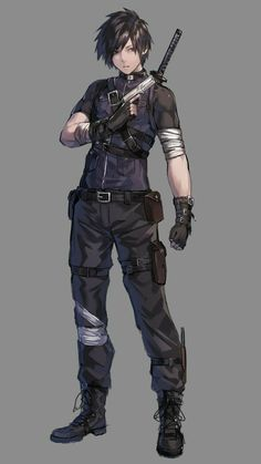 Gloves grey_background gun handgun highres holding holding_gun holding_w Fantasy Character Design, Character Design Inspiration, Character Concept, Character Art, Vector Character, Poses, M Anime, Anime Male, Anime Military