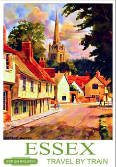 Essex' Artist: Walden Circa: Origin: United Kingdom Today's vintage poster is one of a series of posters commissioned in the by the British Railway used to promote rail Posters Uk, Railway Posters, Poster Prints, British Travel, Postcard Art, Art Uk, Advertising Poster, Vintage Travel Posters, Poster
