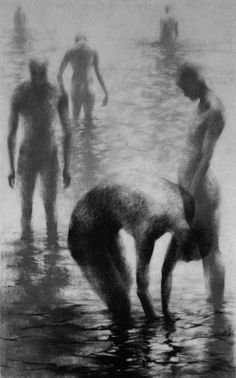 "Items similar to Haunting Figure Drawing Gothic Moody Dark Shadow Crayon Wading Water Fog Fine Art ""Unknown II"" on Etsy Crayon Drawings, My Drawings, Kunst Online, Animal Tracks, Figure Drawing Reference, Museum, Male Figure, Gay Art, Life Drawing"