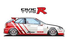 (notitle) - C Tuning Car Style Art - superschnelle Autos Honda Civic Coupe, Honda Civic Hatchback, Honda Civic Type R, Sport Cars, Race Cars, Vinyl For Cars, Racing Car Design, Classic Japanese Cars, Honda Cars