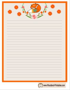 cute fox and flowers writing paper printable lined paper stationary printable cute writing
