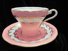 Stunning Pink Aynsley  Corset Style  Cup and Saucer