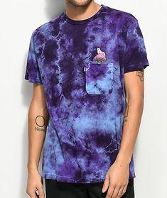 RipNDip Psychedelic Purple Acid Wash Pocket T-Shirt Dip Dye T Shirts, Tie Die Shirts, Pocket T Shirts, Bleach Tie Dye, Tye Dye, Tie Dye Outfits, Dope Outfits, Custom Clothes, Diy Clothes