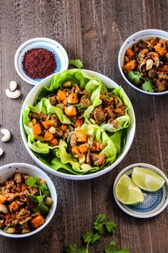 These quick and easy one-pan, 30 minute Moroccan Turkey Lettuce wraps with roasted sweet potatoes and cashews are loaded with flavor!
