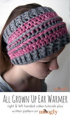 d06c98a58c3 Crochet~Headwraps and Headbands · All Grown Up Ear Warmer - FREE pattern  with written instructions and video tutorials! Great