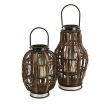 Set of 2 Rustic Coastal Inspired Rattan Hurricane Candle Lanterns