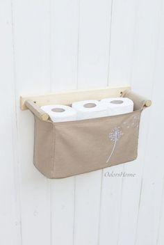 Wall hanging organizer - with 1 bin - beige color linen cotton and embroidered dandelion in the fitting nook Toilet Storage, Bathroom Storage, Door Storage, Storage Cabinets, Kitchen Storage, Sewing Projects, Diy Projects, Hanging Organizer, Pocket Organizer