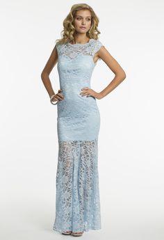 Camille La Vie Glitter Satin and Lace Prom Dress