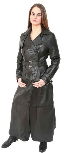 Womens Long Black Leather Coat Full Length Double Breasted Trench Jacket NEW Trench Coat Outfit, Maxi Coat, Trench Jacket, Long Leather Coat, Leather Trench Coat, Black Leather, Leather Jacket, Real Leather, Grey Fashion