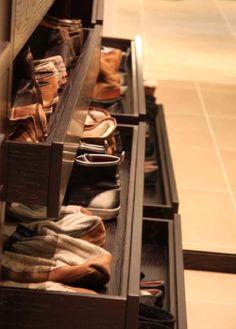 Bespoke shoe drawers. #Walkinwardrobe #BespokeFurniture www.timamery.com