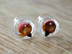 real rose plugs real flower plugs 1/2 ear plugs 12mm tunnels floral ear gauges pressed flower tunnel Unique tunnels resin plugs Flower gauge by JEWELRYandPLEASURE on Etsy