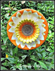 Golden Sunflower Plate Flower Garden Stake by GardenWhimsiesByMary, $35.00