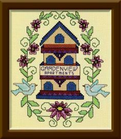 Garden View Birdhouse chart new from DMC. Includes new colors! Designed by Judy Crispens