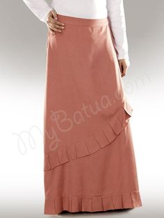Beautiful Frilled Redwood Party Wear Skirt | MyBatua.com  Ulfah Rayon Skirt !  Style No : AS-004  Shopping Link : http://www.mybatua.com/ulfah-rayon-red-islamic-skirt    Available Sizes XS to 5XL (size chart: http://www.mybatua.com/size-chart/#ABAYA/JILBAB)    •	Frilled front and bottom. •	Utility pockets on both sides. •	Elastic waist on back. •	Colour: Redwood •	Fabric: Soft Rayon  •	Care: Dry Clean