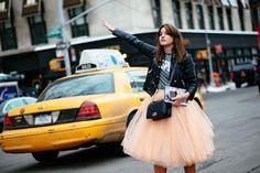 Street-style - 2014 - NY - Fashion Week - Vogue Deutschland - Tutu - Taxi - Saumon