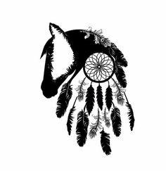 Horse Silhouette & Dream Catcher Tattoo outline black white feathers design @shontishar