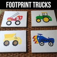 Footprint Trucks...a fun craft / art project for the kids to make!