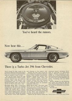 This is a Chevrolet #Corvette ad for the 1965 Chevy Vette.