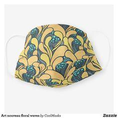 Art nouveau floral waves cloth face mask Yellow Turquoise, Masks Art, Shape Of You, Beautiful Patterns, Sensitive Skin, Face Masks, Art Nouveau, Design Art, First Love