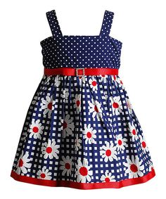 Look at this Youngland Navy & Red Daisy Dot Dress - Toddler on #zulily today!