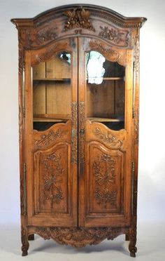 Walnut Glass Door Armoire In Provencal Style