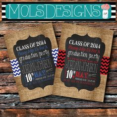 ANY COLOR BURLAP Red Black Blue Grey White Graduation Invitations Vintage Chevron Burlap Chalkboard 21 30 Surprise Birthday Baby Bridal Shower Party Invitation