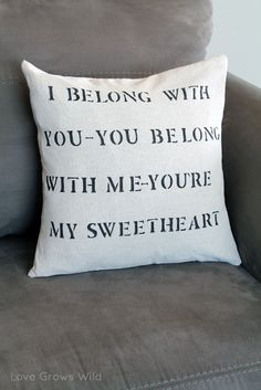 DIY Stenciled Lyric Pillow Tutorial www.lovegrowswild.com #diy #tutorial #pillow