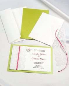 Lime green threaded lace diy invitations with white invitation card and pink ribbon