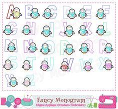 Easter Bunny Letters AppliqueBunny Monogram AZ AppliqueFonts