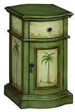 Coast to Coast Cabinet in a Largo Green and Cream Finish with Palm Tree Decor