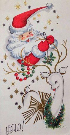 #8681950's Unused Vintage Christmas Card ~ Glittered Santa & Reindeer