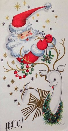 #8681950's Unused Vintage Christmas Card ~ Glittered Santa & Reindeer