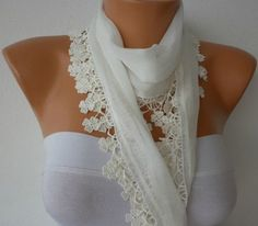 Off  White Scarf   Cotton  Scarf  Headband Necklace by fatwoman, $13.50