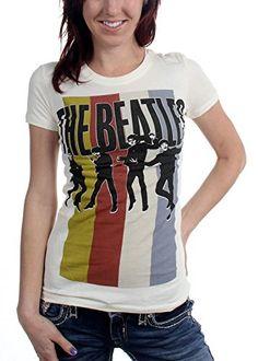 Unknown - Camiseta - Mujer de color Blanco de talla Medium - The Beatles - Da donna Stripes Standing Group (Camiseta), Size: Medium, Color: Cream