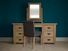 Riven Oak Double Dressing Table   solid oak dressing tables   Handmade by Indigo Furniture