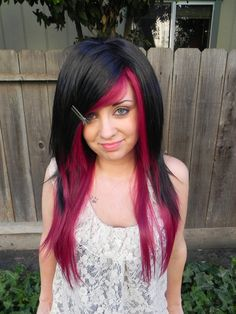 I love this and I want to have some fun with my hair!! I was thinking dark purple for me :) And not a wig lol  ON SALE Pick Your Poison / Dark Auburn Red and Black / by ExandOh, $114.75
