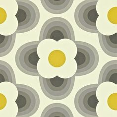 RETRO FLORAL DESIGNER WALLPAPER BY ORLA KIELY GRAPHITE YELLOW FEATURE WALL | eBay