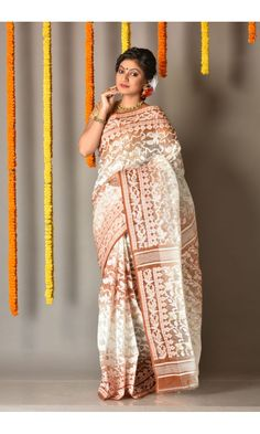 Rust - White Dhakai Jamdani Saree of category Colors Of Bengal presented by the most famous saree boutique in kolkata Adimohinimohankanjilal Dhakai Jamdani Saree, Handloom Saree, Beautiful Saree, Beautiful Women, Bengali Saree, Rust, Sarees, Indian, Boutique