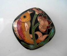 Vintage enamel Asian fish Pendent by houuseofwren on Etsy