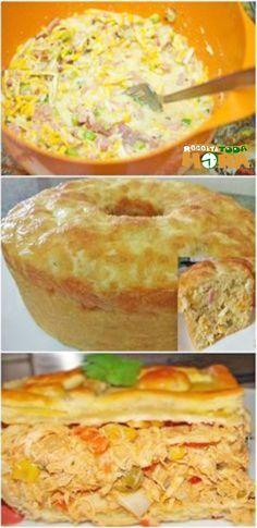 Torta Caipira da Vovó #TortaCaipiradaVovó #TortaCaipira #Tortasalgada #Receitatodahora Sagada, Tasty, Yummy Food, Quiches, Carne, Picnic, Cheesecake, Food And Drink, Low Carb