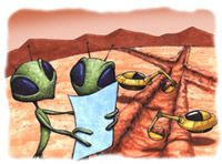 Artist concept of canal builders on Mars